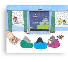 Penguins Playing Videogames Canvas Print