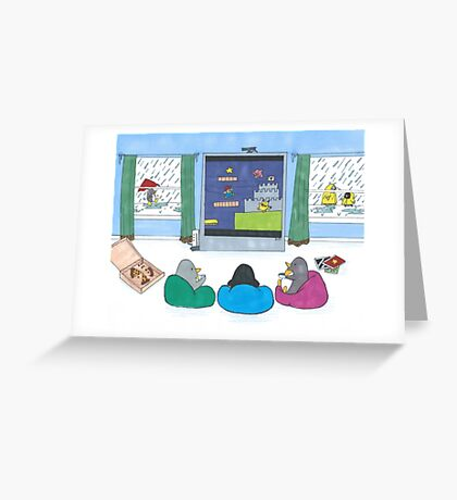 Penguins Playing Videogames Greeting Card