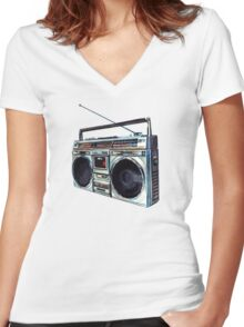 Radio Pattern Women's Fitted V-Neck T-Shirt