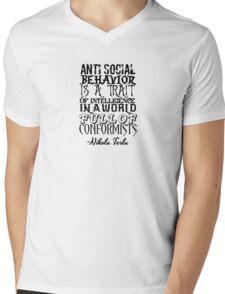 Anti Social Behavior, Nikola Tesla Quote Mens V-Neck T-Shirt