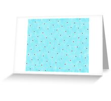 Blue watercolour and Red Polka dots Greeting Card