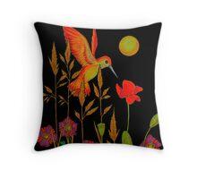 hummingbird in the moonlight Throw Pillow