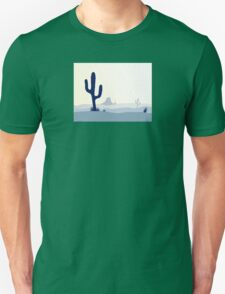 Cactus desert sunset. Scene with desert cactus plant, weeds and mountains Unisex T-Shirt