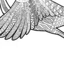 Line art flying swan Sticker