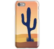 Cactus desert sunset. Scene with desert cactus plant and weeds. Sunset in desert iPhone Case/Skin