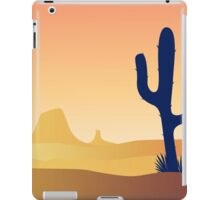 Cactus desert sunset. Scene with desert cactus plant and weeds. Sunset in desert iPad Case/Skin
