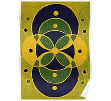 Green and Blue Overlapping Circles Poster