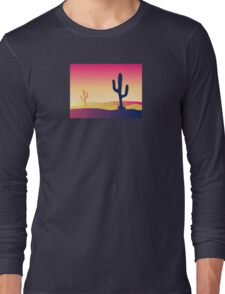 Cactus desert sunset. Scene with desert cactus plant and weeds Long Sleeve T-Shirt