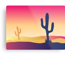 Cactus desert sunset. Scene with desert cactus plant and weeds Metal Print