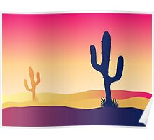 Cactus desert sunset. Scene with desert cactus plant and weeds Poster