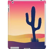 Cactus desert sunset. Scene with desert cactus plant and weeds iPad Case/Skin