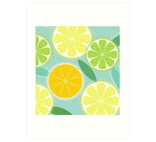 Citrus fruit background vector - Lemon, Lime and Orange Art Print