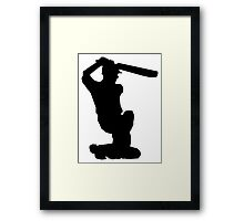Cricket Player Silhouette Framed Print