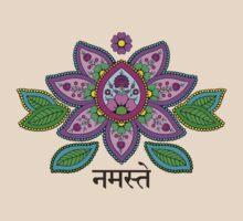 Mehndi Style Namaste Lotus by shantitees
