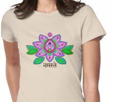 Mehndi Style Namaste Lotus Womens Fitted T-Shirt