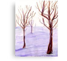 Watercolor Snowy Trees Canvas Print