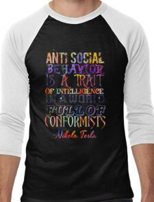 Watercolor-Anti Social Behavior, Nikola Tesla Quote Men's Baseball ¾ T-Shirt