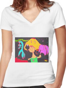 Uncle Barber and His Nomadic Travellers Women's Fitted V-Neck T-Shirt