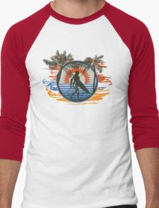 Surfing - Summer Sun and Palm Trees and Paint Brushes Men's Baseball ¾ T-Shirt
