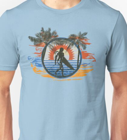 Surfing - Summer Sun and Palm Trees and Paint Brushes Unisex T-Shirt