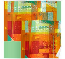 Intersect Orange abstract art Poster