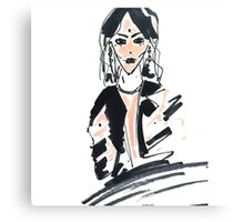 Fashion woman in sketch style with markers Canvas Print