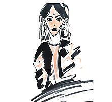 Fashion woman in sketch style with markers Photographic Print