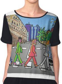 The Beatles in via Roma Cagliari PoscArt Chiffon Top