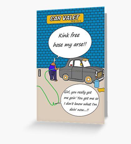 Kink free hose cartoon humour card Greeting Card