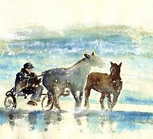 Horse Carriage On A Beach by Goodaboom