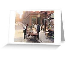 Clam seller on Mulberry Bend, New York, ca 1900 Greeting Card