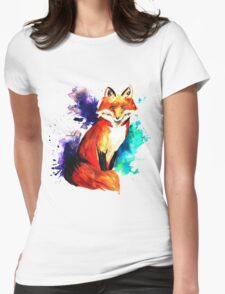 Splash Color Fox Womens Fitted T-Shirt