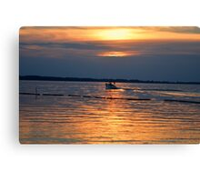 Swimming to Orange Sunset Canvas Print