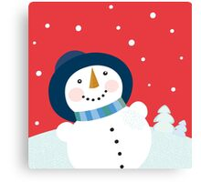 Christmas holiday background with snowman Canvas Print