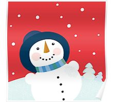 Christmas holiday background with snowman Poster