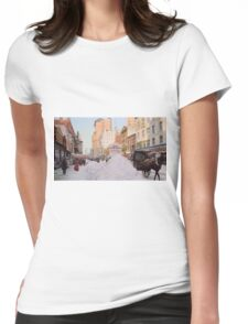Piles of snow on Broadway, after storm, New York, ca 1905 Colorized T-Shirt