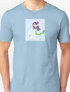 Romantic winter girl on snow. Snow lady in fashion trendy costume Unisex T-Shirt