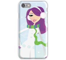 Romantic winter girl on snow. Snow lady in fashion trendy costume iPhone Case/Skin