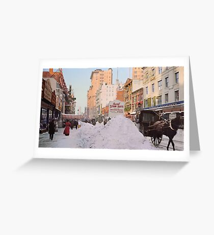 Piles of snow on Broadway, after storm, New York, ca 1905 Colorized Greeting Card