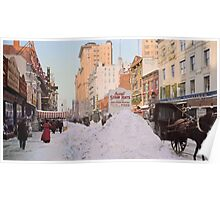 Piles of snow on Broadway, after storm, New York, ca 1905 Colorized Poster