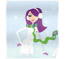 Romantic winter girl on snow. Snow lady in fashion trendy costume Poster