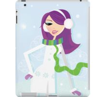 Romantic winter girl on snow. Snow lady in fashion trendy costume iPad Case/Skin