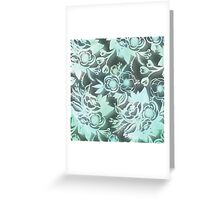 Beautiful,water color,hand painted,mint on black grey,floral design, Greeting Card
