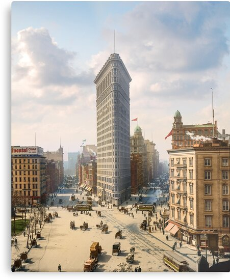 Flat Iron in New York City, ca 1903 colorized by Sanna Dullaway