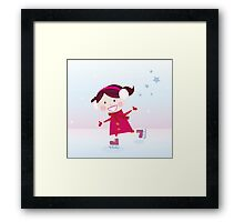 Ice skating girl. Small girl with big smile on ice Framed Print