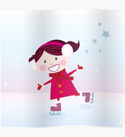 Ice skating girl. Small girl with big smile on ice Poster