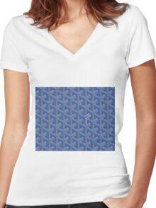 Goyard case blue Women's Fitted V-Neck T-Shirt