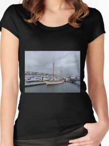 Grey Skies And White Boats...........................Bangor Women's Fitted Scoop T-Shirt
