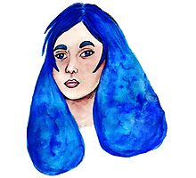 Blue Watercolor Hair Photographic Print