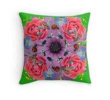 Flowers and Bugs Nature Photo Collage Throw Pillow